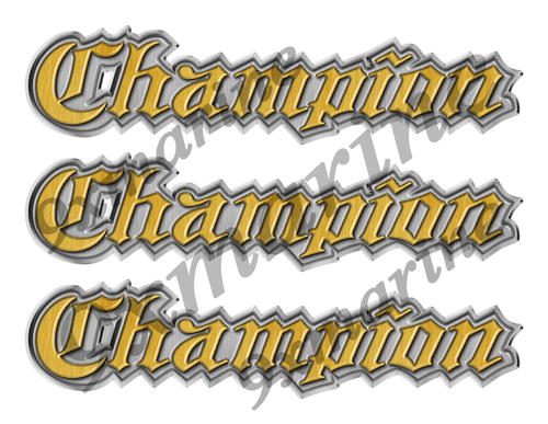 "3 Champion Classic Vintage Stickers Remastered - 10""x2"" each"