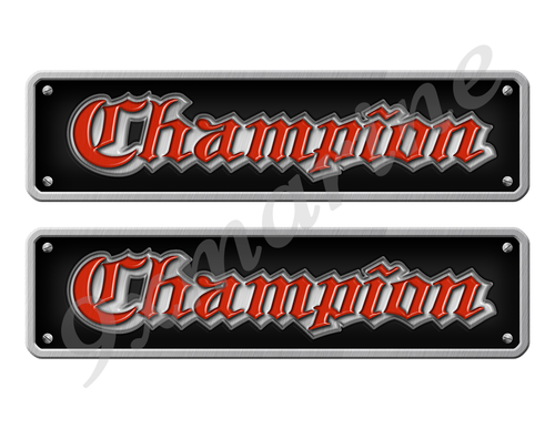 """Two Champion 80s Stickers - 10"""" long set. Replica Name Plate in Vinyl"""