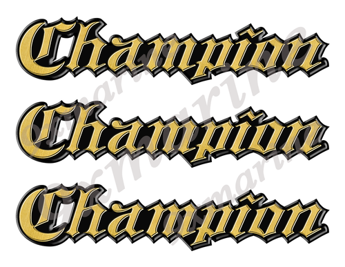 "3 Champion Classic Vintage Stickers Remastered - 10"" long each"