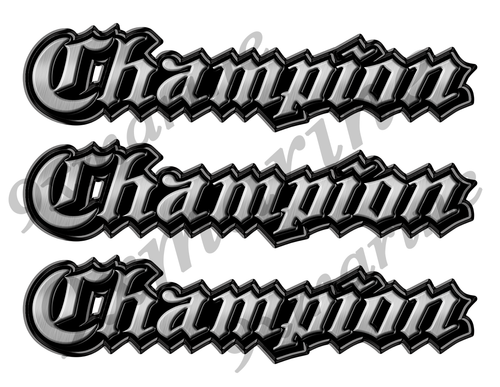 "3 Champion Classic Vintage Stickers Remastered - 10"" long"