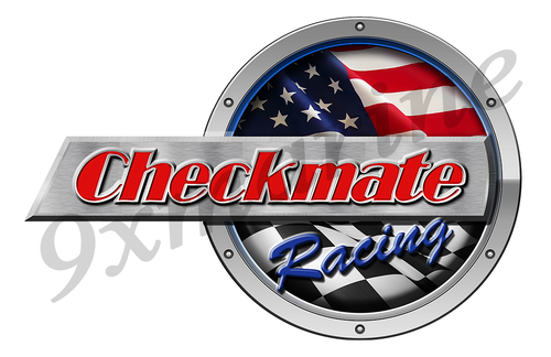 """One Checkmate Racing Round Sticker 15""""x10"""""""