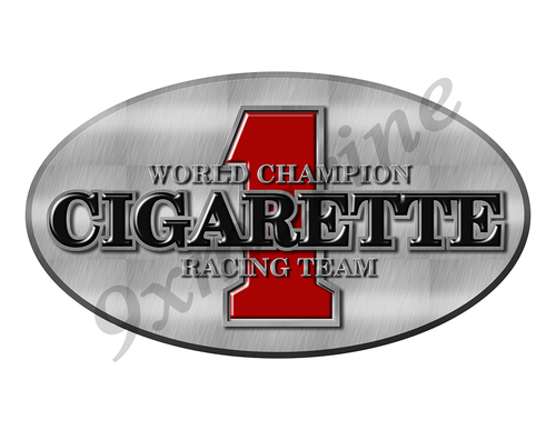 "Cigarette Remastered Sticker. Brushed Metal Style - 10"" long"