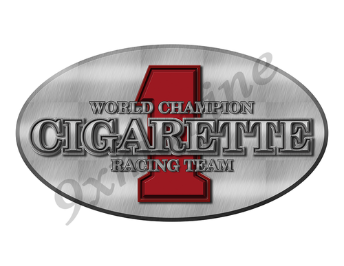 "One Cigarette Oval Sticker. Brushed Metal Style - 10""x5.5"""