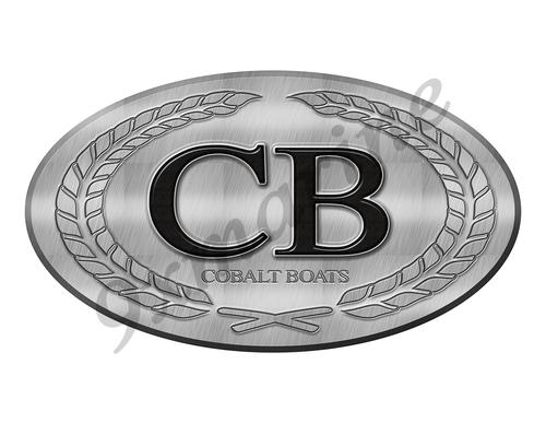 "Cobalt Boat Sticker Brushed Metal Look - 10"" long"