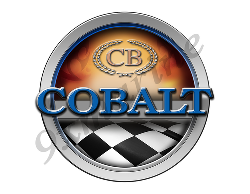 Cobalt Racing Boat Round Sticker - Name Plate