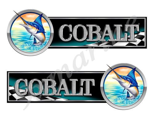 2 Cobalt Boat Marlin Racing Type Stickers