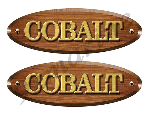 Cobalt Wood Grain Boat Restoration Sticker set