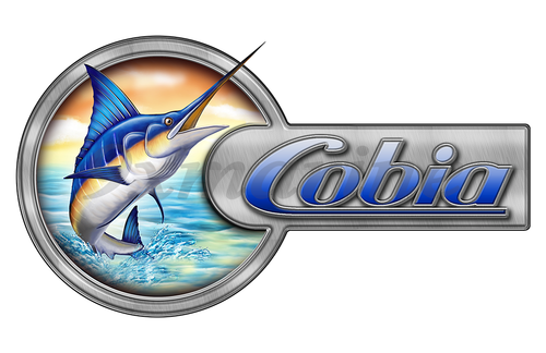 "Cobia Marlin Round Designer Sticker 16""x9"""