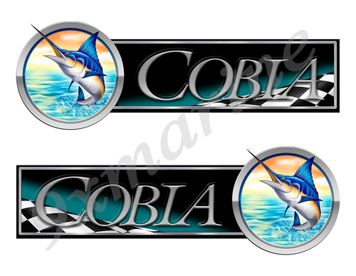 2 Cobia Boat Marlin Racing Type Stickers