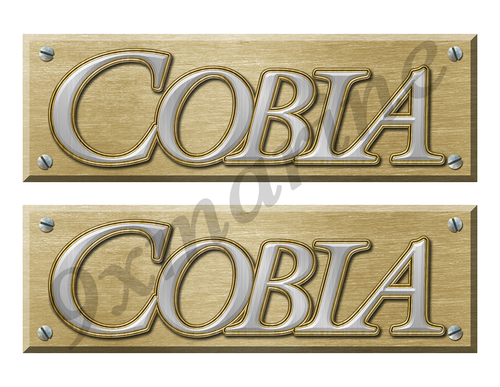 Two Cobia Boat Remastered Name Plate Stickers for Restoration Project