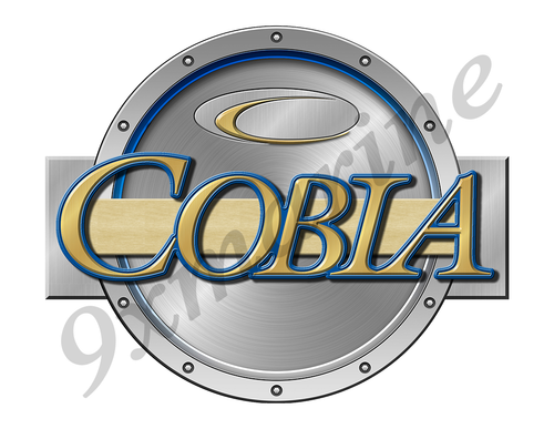 "Cobia Remastered Sticker. Brushed Metal Style - 7.5"" diameter"