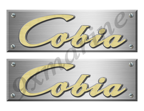 "Cobia Remastered Stickers. Brushed Metal Style - 10"" long"