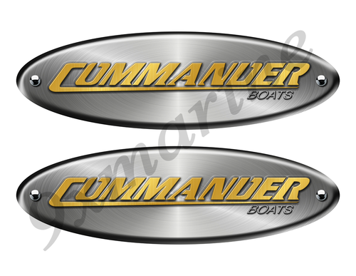 "Commander Remastered Stickers. Brushed Metal Style - 10"" long"