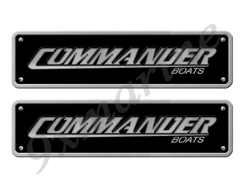 "Two Commander Stickers - 10"" long set. Replica Name Plate in Vinyl"