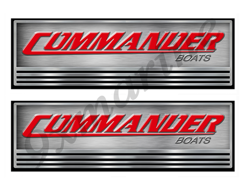 Two Commander Boat Stickers. Not OEM