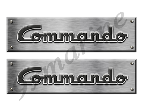 "Commando Remastered Stickers. Brushed Metal Style - 10"" long"