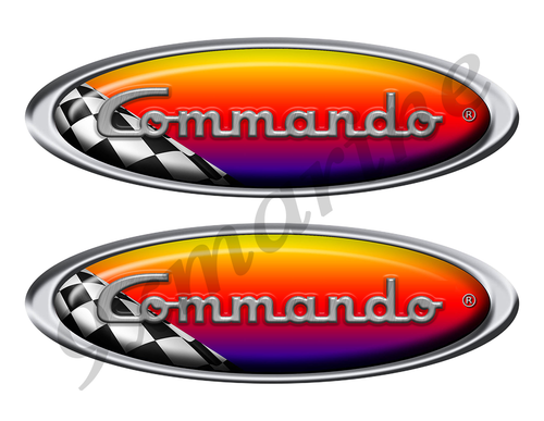 Two Commando Racing Oval Stickers