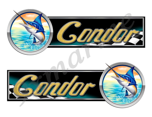 2 Condor Boat Marlin Racing Type Stickers