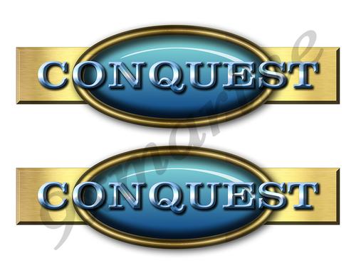 """Two Conquest Retro Stickers 10""""x3"""""""