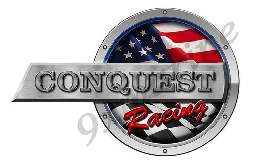 "One Conquest Racing Round Sticker 15""x10"""