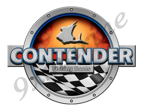 Contender Racing Boat Round Sticker - Name Plate