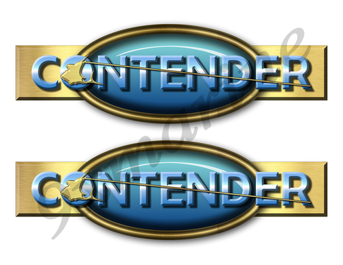 "Two Contender Retro Stickers 10""x3"""