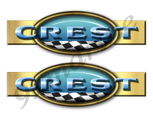 "Two Crest Retro Stickers 10""x3"""