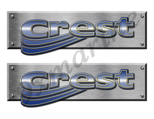 "Crest Remastered Stickers. Brushed Metal Style - 10"" long"