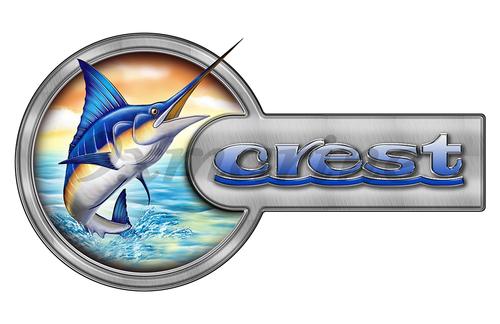 """Crest Marlin Round Designer Sticker 16""""x9"""""""