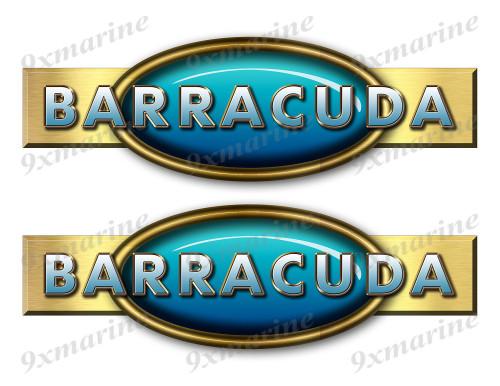 """Two Barracuda Retro Stickers 10""""x3"""""""