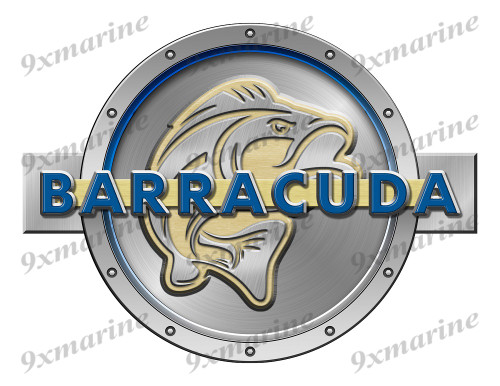 "One Barracuda Remastered Sticker. Brushed Metal Style - 7.5"" diameter"