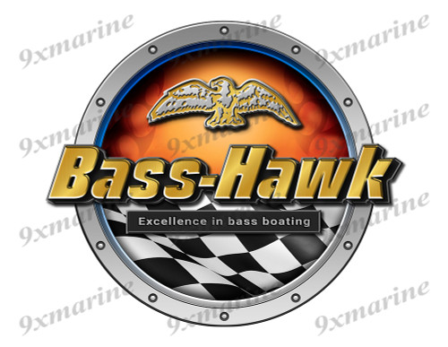 Bass Hawk Racing Boat Round Sticker - Name Plate