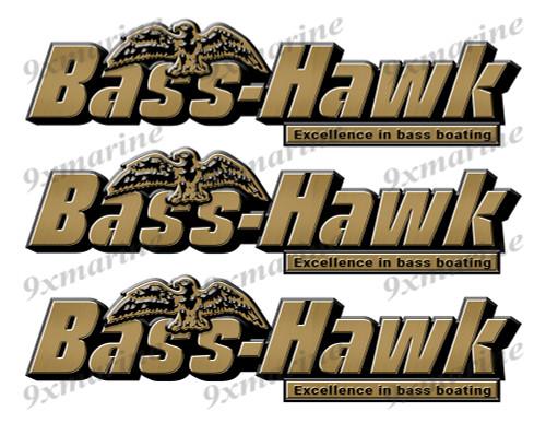 "3 Bass Hawk Stickers - 10"" long. Replica Name Plate in Vinyl"