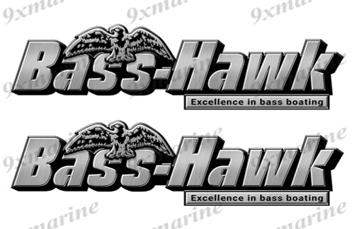 "2 Big Bass Hawk Stickers - 16"" long each. Replica Name Plate in Vinyl"