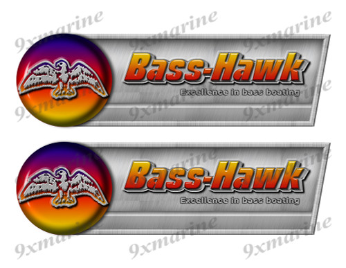 "Bass Hawk Retro Sticker set - 10""x3"". Remastered Name Plate"