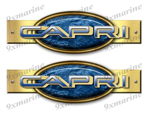 """Two Capri Retro Stickers 10""""x3"""""""
