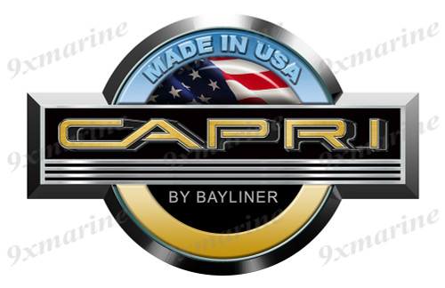 "Single Bayliner Capri Round Sticker 15""x10"""