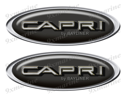 """Two Bayliner Capri Classic Oval Stickers 10"""" long"""