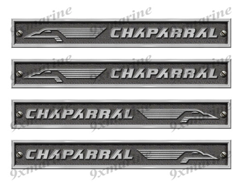 "Four Chaparral Stickers - 10"" long set. Replica Name Plate in Vinyl"