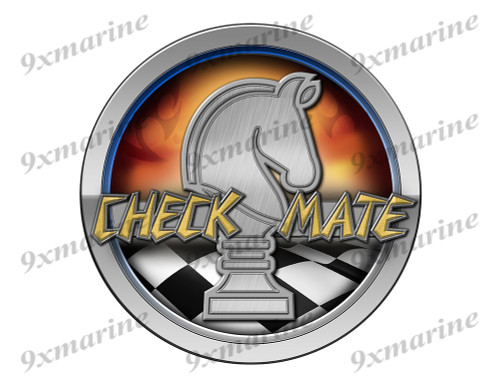 Checkmate 70s Boat Round Sticker - Name Plate