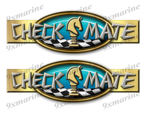 "Two Checkmate 70s Retro Stickers 10""x3"""