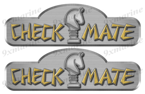 """Two Checkmate 70s Remastered Stickers. Brushed Metal Style - 16"""" long"""
