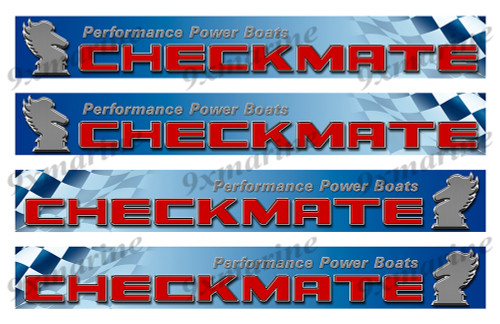 """4 Checkmate 80s Vinyl Stickers - 16""""x2"""" each"""