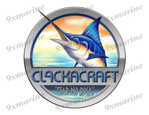 "Clackacraft Marlin Round Designer Sticker 7.5""x7.5"""