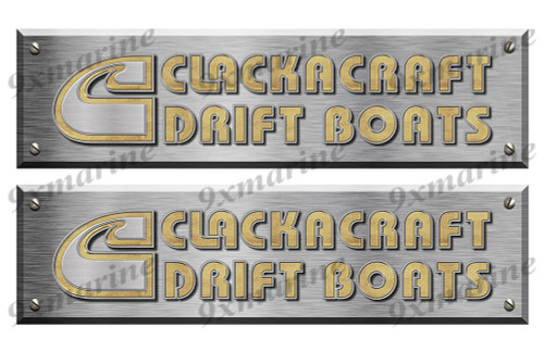 "2 Clackacraft Boat Stickers Brushed Metal Look - 16"" long"
