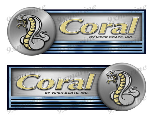 "Two Coral Stickers for Boat Restoration - 10"" long each"