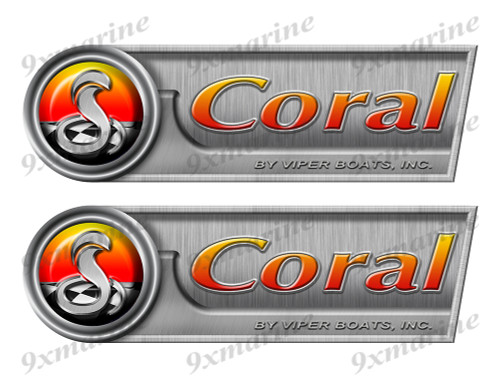 "Coral Retro Sticker set - 10""x3"". Remastered Name Plate"