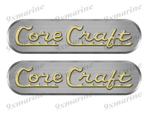"2 Core Craft Remastered Stickers. Brushed Metal Style - 10"" long"