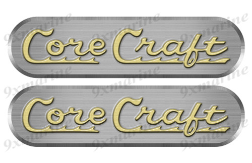 "Two Big Core Craft Remastered Stickers. Brushed Metal Style - 16"" long"