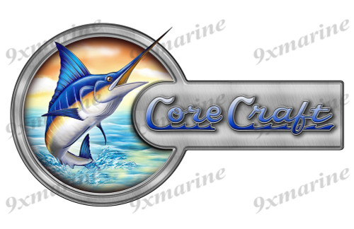 "Core Craft Marlin Round Designer Sticker 16""x9"""